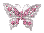 Alilang PINK Tone Clear Crystal Rhinestone Filigree Butterfly Brooch Pin