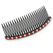 Black Acrylic With AB/ Ruby Red Crystal Accent Hair Comb - 10cm