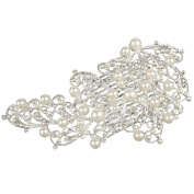 Clearine Women's Bohemian Blooming Butterfly Crystal Ivory Colour Simulated Pearl Wedding Bridal Hair Comb