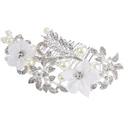 Clearine Women's Bohemian Boho Ivory Colour Simulated Pearl Floral Crystal Hair Comb Silver-Tone Clear