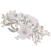 Clearine Women's Bohemian Ivory Colour Simulated Pearl Bridal Crystal Hollow Flower Hair Comb Clear Silver-Tone