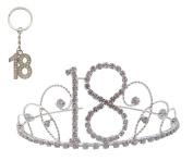 Pick A Gem Hair Accessories Silver Clear Diamante Crystal 18th Birthday Tiara Crown with Silver 18th Keyring Keychain