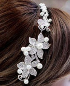 Bridal Hair Accessory Tiara Style with Rhinestone and Pearl Detail
