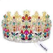 HerZii Height Crystal Rhinestone Big Hair Crown Tiara Heaband for Queen, Bridal, Princess in Wedding, Party and Birthday