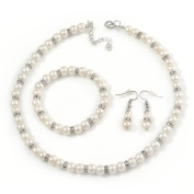 7mm White Faux Pearl Glass Bead with Crystal Rings Necklace, Flex Bracelet & Drop Earrings Set In Silver Plating - 40cm L/ 5cm Ext