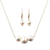 Single Strand Natural Pearl Beads Bar Necklace and Earring Set Bridesmaids Gift