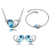 'Bungsa® Blue Heart Design – Matching Silver Jewellery Set Studs Earrings & Necklace – Blue Crystal & Clear Crystal Heart Pendant & Bracelet Jewellery Set Women Crystals Heart Love