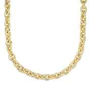 14ct Yellow Gold Alternate Shiny Textured Oval Link Necklace With Lobster Clasp - 46 Centimetres
