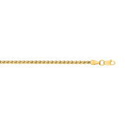 14k Yellow Gold 2.4mm Lite Weight Wheat Chain Necklace With Lobster Clasp - Length Options