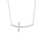 14ct Gold 0.12ct Necklace With Short Curved Side Way Cross - 46 Centimetres