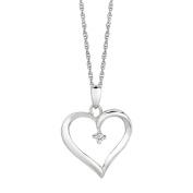 Silver Rhodium Finish 1.1mm Shiny Cable Chain Lob-clasp 0.04 Ct Wht Diamond Open Heart Neck - 46 Cen