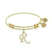 Brass With Yellow Finish Initial R Charm For Angelica Bangle Bracelet