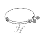 Brass With White Finish Initial H Charm For Angelica Bangle Bracelet