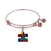 Brass With Pink Finish Autism Awareness Enamel Charm For Angelica Bangle