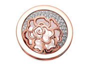 Quoins Womens QMOA-43M-R Veil Rose Gold Plated Crystal Coin - Medium
