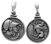 Athena and Pegasus Piece Pendant Silver-Plated