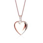 Belons Rose Gold Heart Photo Locket Openable Pendant Titanium Steel Blue/Pink Epoxy Necklace 50cm Chain