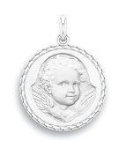 9ct White Gold 17 mm Diameter – ESPIEGLE – Medal Religious Angel www.diamants-perles.com