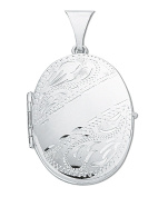 """27 x 22mm Sterling Silver 4 Photograph Family Oval Locket & 18"""" Chain - British Made - Hallmarked"""