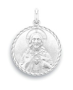Christ of the Sacred Heart Pendant in 9 Carat White Gold Religious Medal – Diameter