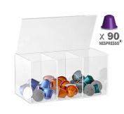 Leox – 90 Coffee Capsule Stand for Nespresso Capsule Holder Accessories Organiser Storage Box Storage Box Coffee Capsule Holder Apsel Screen – Clear