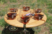 Woodluv Portable Round Bamboo 6 Wine Snack Serving Table Stand Holder Tray
