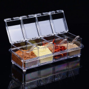 Paracity Kitchen Gourmet Acrylic Seasoning Box With 4 Serving Spoons, Nice For