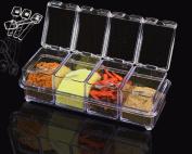Crystal Seasoning Acrylic Spice Container Dispenser Jar Kitchen Salt Box Spoons