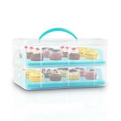 Klarstein Blue Cookie Cake Transportion Carrier Muffins Cupcake Storage Box Food
