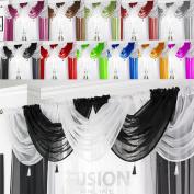 Net Curtain Swag Swags Tassle Voile Decorative Drapes Pelmet Valance All Colours
