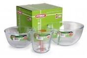 Pyrex 3pc Jug & Bowl Set 1 & 2 Litre Bowls + 0.5 Litre Measuring Jug