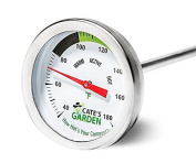 Compost Thermometer - Cate's Garden Premium Stainless Steel Bimetal Thermomet...