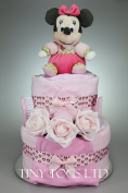 Baby Girl Two Tier Pretty in Pink Nappy Cake New Born Baby Shower Gift with Minnie Mouse Soft Toy