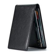 Ultra Slim Mini Size Wallet ID Window Card Case with RFID Blocking - Cross-grain Black