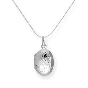 Sterling Silver Oval Engraved Locket on Chain 16 - 60cm