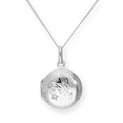 Sterling Silver & CZ Crystal Engraved Round Locket on Chain 16 - 60cm