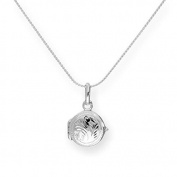 Tiny Sterling Silver Round Engraved Locket on Chain 16 - 60cm