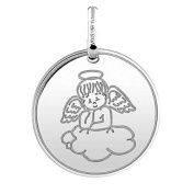 Angel on a Cloud Religious Medal – Diameter 16 mm 18 K White Gold – www.diamants-perles.com