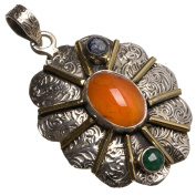 StarGems(tm) Natural Two Tones Carnelian,Emerald And Lapis Lazuli Handmade Indian 925 Sterling Silver Pendant 4.4cm