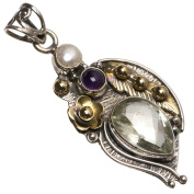 StarGems(tm) Natural Two Tones Green Amethyst,Amethyst And River Pearl Handmade Vintage 925 Sterling Silver Pendant 5.1cm
