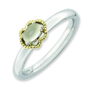 2.25mm Sterling Silver and 14k Stackable Expressions Moonstone Polished Ring - Ring Size Options Range