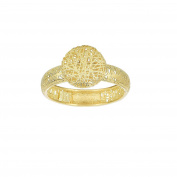 14ct Yellow Gold 4.0mm Textured Fancy Ring With 9. 9mm Puffed Circle Top - Size N 1/2
