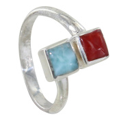 Les Poulettes Jewels - Sterling Silver You and I Ring with Blue Larimar and Red Coral