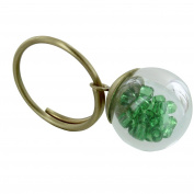 Les Poulettes Jewels - Brass Ring Glass Paste Bubble and Green Pearls