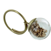 Les Poulettes Jewels - Brass Ring Glass Paste Bubble and Golden Pearls