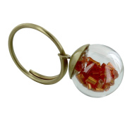 Les Poulettes Jewels - Brass Ring Glass Paste Bubble and Orange Pearls