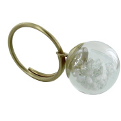 Les Poulettes Jewels - Brass Ring Glass Paste Bubble and White Pearls
