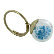Les Poulettes Jewels - Brass Ring Glass Paste Bubble and Blue Pearls