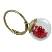 Les Poulettes Jewels - Brass Ring Glass Paste Bubble and Pink Pearls