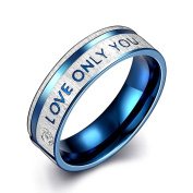 Blue Tone Love Only You Engagement Promise Ring Wedding Band Stainless Steel Men Women Fashion